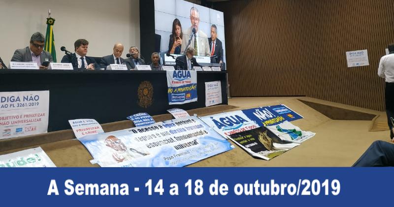 Contra o PL 3261/19: entidades unidas na defesa da garantia à universalização dos serviços de água e saneamento
