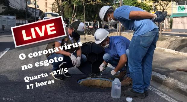 live coronavírus no esgoto