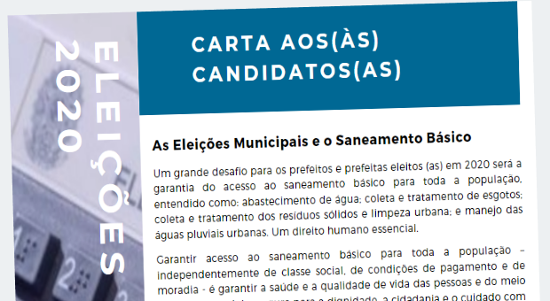 Eleições: carta aos(às) candidatos(as) com propostas e compromissos sobre saneamento