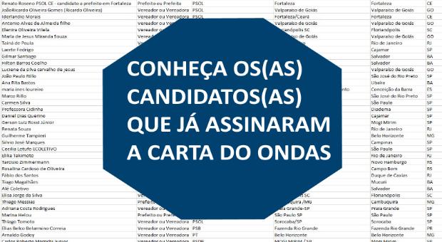 Conheça os candidatos(as) que assinaram carta-compromisso do ONDAS sobre o saneamento