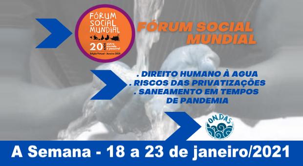 No Fórum Social, ONDAS promove debate sobre direito à água, pandemia e privatizações