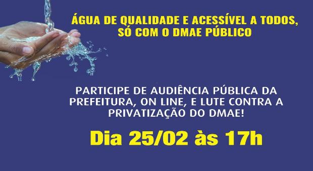 Quinta (25/2): Audiência pública virtual sobre privatização do DMAE – Porto Alegre